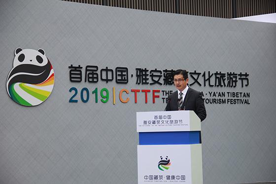 雅安市雨城区委副书记、代理区长陈建伟推介雨城藏茶和文旅发展情况.JPG
